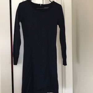 Navy blue and black sweater dress